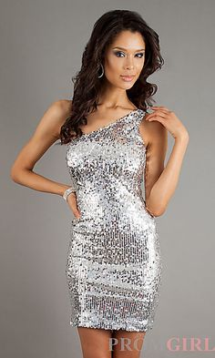 347a25f69e One Shoulder Sequin Short Dress at PromGirl.com Silver Evening Gowns