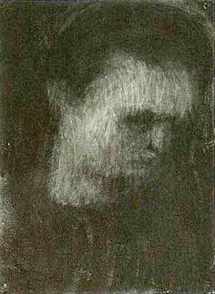 Self Portrait by Leon Kossoff - pastel on paper