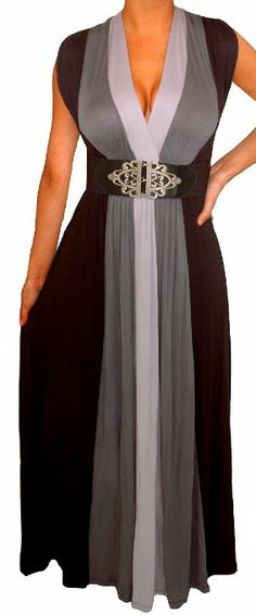 Amazon.com: FUNFASH BLACK GRAY COLOR BLOCK LONG MAXI COCKTAIL DRESS Plus Size WOMEN Made in USA Fast Shipping: Clothing