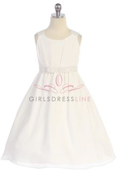Ivory Dazzing Bead work on Shoulders & Waistband Elegant Chiffon Flower Girl Dress T5523-IV $66.95 on www.GirlsDressLine.Com