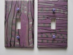 Light Switch Cover, Single Switch Plate, Toggle Switchplate, Plum and Silver with Black Stripes by marcympc on Etsy