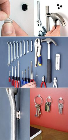For a clean look when organizing metal objects: adhesive magnets