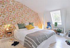 sweden apartment design with flower wallpaper