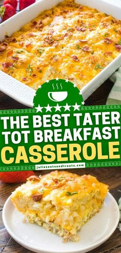 This contains: The BEST Tater Tot Breakfast Casserole! This Tater Tot Breakfast Casserole Has Super Creamy Eggs, Bacon And 2 Kinds Of Cheese! It's Easy To Make Ahead Of Time And Is Perfectly Freezer-friendly!. Vegetarian Breakfast Casserole, Tater Tot Breakfast Casserole, Hashbrown Breakfast Casserole, Breakfast Dishes, Breakfast Time, Breakfast Recipes, Breakfast Ideas, Tater Tot Recipes, Casserole Recipes