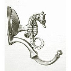 """One of our favorites! Seahorse as the top element of this bath hook and finished off at the hook's end with a nautilus sea shell. Measures an approximate 3.5"""" projection. Terrific addition for any sea"""