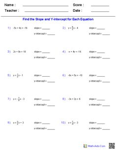Worksheet Finding Slope Worksheet equation a line and algebra on pinterest finding slope y intercept from linear equation