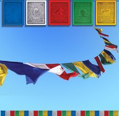 Meaning of the colours of Tibetan Prayer Flags: Blue (Health & Longevity), White (Karma Purification), Red (Wish fulfilling prayer), Green (Tara/Compassion), and Yello (Wind Horse/Victory)