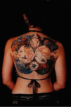 world travel tattoo Wow, that's bold and brilliant!