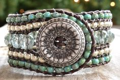 """Rustic country girl beaded cuff bracelet """"green tea, silver and turquoise"""", distressed brown leather, very rustic-boho chic"""