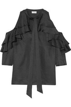 fec37d5680829 Temperley London - Tempest cutout ruffled silk-twill blouse