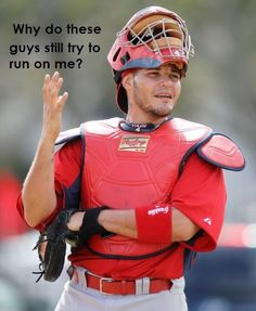 Yadier Molina - Officially a St. Louis Cardinal for life St Louis Baseball, St Louis Cardinals Baseball, Stl Cardinals, Yadier Molina, Cardinals Players, Mlb, No Crying In Baseball, Baseball Players, Baseball Memes