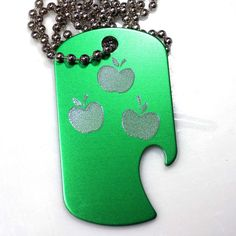"MLP Applejack Green Pendant With 30"" Chain Dog Tag Aluminum Bottle Opener EDG-0250"