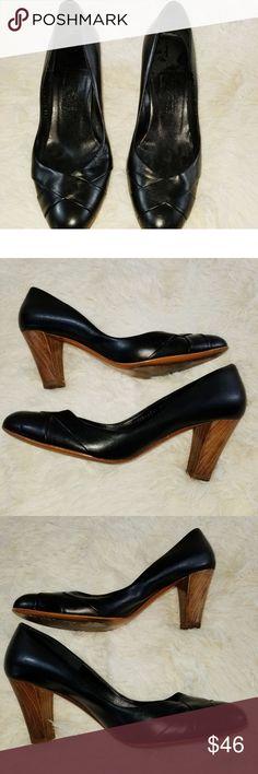dc122deee728 Salvatore Ferragamo Black Leather Wooden Heels Salvatore Ferragamo Black  Leather Wooden Heels