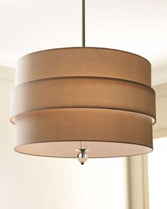 """LARGE ORBIT NICKEL PENDANT at Neiman Marcus.  •Polished nickel finish.  •Oyster/tan shade is linen.  •Uses three 75-watt bulbs.  •Ceiling canopy included.  •26.5""""Dia. x 60""""T.  •Includes three pre-wired 12""""L pipe sections that may be removed for adjustable drop.    Original:$495.00Special Value:$395.00  NMS13_H4W30"""
