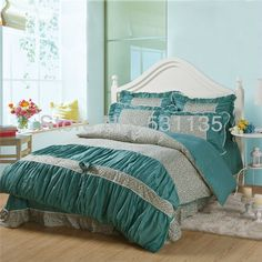 grey color korean country style cotton bedding set duvet/quilt/comforter/bedclothes bedsheets cover for king/queen size