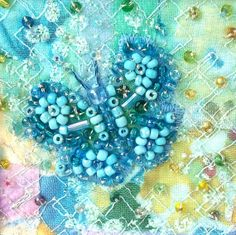 Beaded butterfly card - blue butterfly - fabric art card - patchwork card  - Mothers day card - wedding gift card on Etsy, $7.00