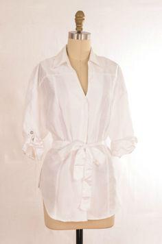 Harve Benard White Belted Button Shirt Size M | ClosetDash #fashion #style #dresses