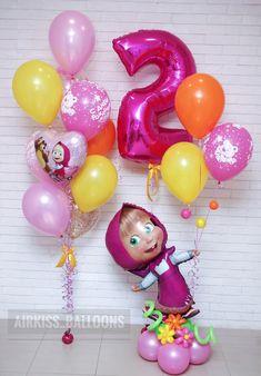 Third Birthday Girl, Baby Girl Birthday Theme, Bear Birthday, Unicorn Birthday Parties, Birthday Party Decorations, Birthday Celebration, Balloon Decorations, Birthday Wishes And Images, Masha And The Bear