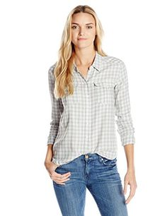 PAIGE Women's Mya Plaid Shirt, Cream/Blue Pearl/Grey, Large *** For more information, visit image link.