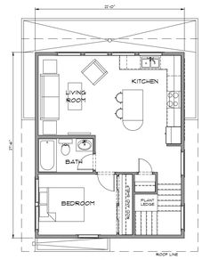 Granny pods with garage Midway - Pacific Homes Cottage Floor Plans, Cabin Floor Plans, Craftsman House Plans, Modern House Plans, Small House Plans, Studio Apartment Plan, Garage Apartment Floor Plans, Garage Plans, Carriage House Plans