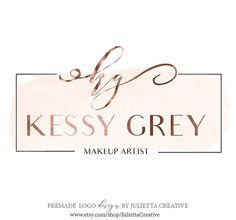 Beauty Logo, Premade Watercolor Logo Design, Rose Gold Logo, Modern Calligraphy logo, Makeup artist logo, Branding logo design