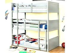 20 Marvelous Triple Bunk Bed Ideas For Your Kids Bedroom Design – Design & Decor Triple Bunk Beds Plans, Bunk Bed Plans, Toddler Bunk Beds, Picture Design, Kids Bedroom, Cool Designs, How To Plan, House, Design Design