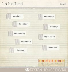 Quality DigiScrap Freebies: Labeled Days tags freebie from Pink Trike Design