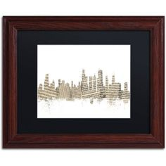 Trademark Fine Art Chicago Skyline Sheet Music Canvas Art by Michael Tompsett Black Matte, Wood Frame, Size: 11 x 14