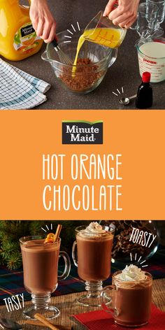 A homemade hot chocolate recipe with a tangy twist! Mix your cocoa with the goodness of Minute Maid Orange Juice for an easy and warm treat.