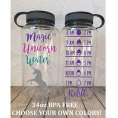 Magic Unicorn Water Water w/ Water Tracker on other side. This is a 34oz hydration bottle with professional adhesive vinyl. It has an open wide mouth - perfect for adding ice if wanted! This bottle is BPA free. **Please choose colors at checkout. The tracker color will be made to match the stars in the top corner and the unicorn above.** Please contact us directly if you would like to add a glittered base to the bottle - Glitter is an additional $3.00 for WaterBottles only! The glitter...
