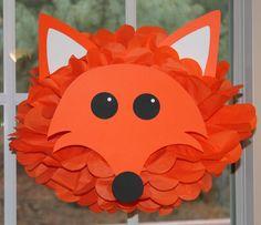 Fox tissue paper pompom kit by TheShowerPlanner on Etsy, $9.99