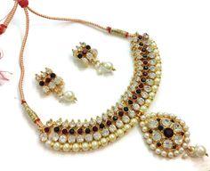 Gorgeous Kundan Blue Polki Necklace Set