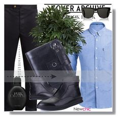 """NewChic !"" by dianagrigoryan ❤ liked on Polyvore featuring Moncler Gamme Bleu, Nearly Natural, Yves Saint Laurent, Calvin Klein, men's fashion and menswear"