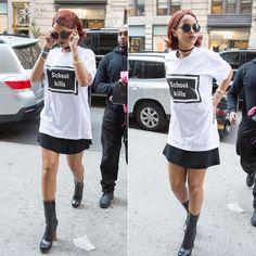 Rihanna wearing Hyein Seo school kills white t-shirt, Prada wooden heel nail stud leather boots, Le Specs Wild Child round sunglasses