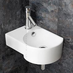 Wall Hung Aversa Right Handed Compact Washbasin  www.clickbasin.co.uk   Just £69 and that includes delivery