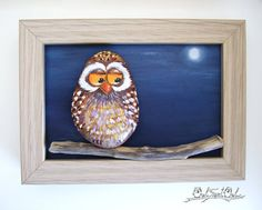 Unique Handmade Colorful Owl Artwork 3-D Painting Made with