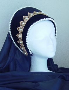 .Great design ideas for French hood. I have venice lace and pearls!