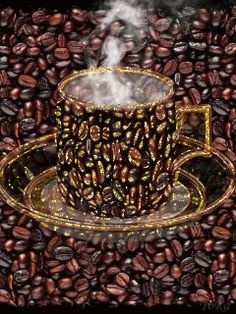 Nézz be! Coffee Gif, Coffee Images, Coffee Quotes, Good Morning Coffee, Beautiful Gif, Tea Cups, Candle Holders, Mint, Gold