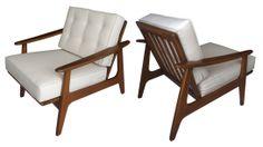 Par de sillones estilo danés, marca Malinche. c 1960.