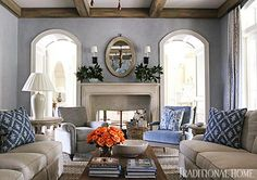 love the blue walls - color washed to look aged, Meet 2013's New Trad Designers - Traditional Home®
