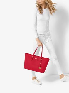 fa64e87eec012b Outlet Michael Kors Bright Red Jet Set Travel Medium Saffiano Leather  Top-Zip Tote Discount