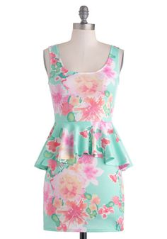 Oahu's That Lady? Dress - Pastel, Short, Floral, Party, Peplum, Tank top (2 thick straps), Scoop, Multi, Vintage Inspired, 80s, Mini