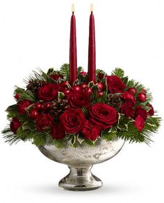 Teleflora's Mercury Glass Bowl Bouquet - #Christmas #flowers with candles in a keepsake bowl