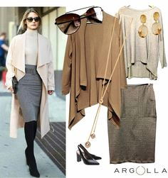 Nós nos inspiramos na top blogger Olívia Palermo p/ criar um look de frio com saia e cardigan