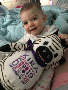 Stuffed Animal with Birth Stats. World Class Embroidery Safari Theme Nursery, Nursery Themes, Nursery Decor, Personalized Baby Gifts, Baby Birth, Zoo Animals, Zebras, New Baby Products, Freezer Paper