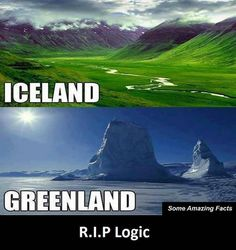 Green Iceland and Frozen Greenland. How To Know, Did You Know, Greenland Iceland, Funny Google Searches, Some Amazing Facts, Funny Fails, Finland, Denmark, Norway