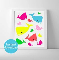 Printable nursery art. Set of multicoloured neon by PrintsOfHeart, £3.00