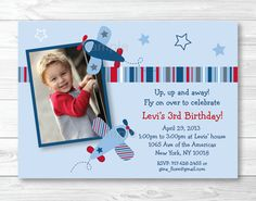 Airplane Birthday Invitation PRINTABLE Any by LittlePrintsParties