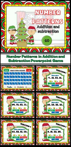 Practice number patterns with this fun Christmas themed game. Students must figure out the what the pattern is, whether it's addition or subtraction, and the next 3 numbers. Includes a hint button that states the rule. There are 20 questions and you just click on each question to go to it.