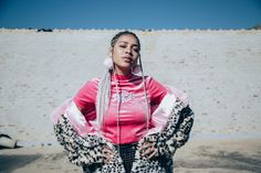 South African rapper-poet and actress Sho Madjozi, discusses the inspiration behind her hit single Celebs, Celebrities, Spotlight, Braided Hairstyles, Rapper, Hooded Jacket, Braids, African, Actresses